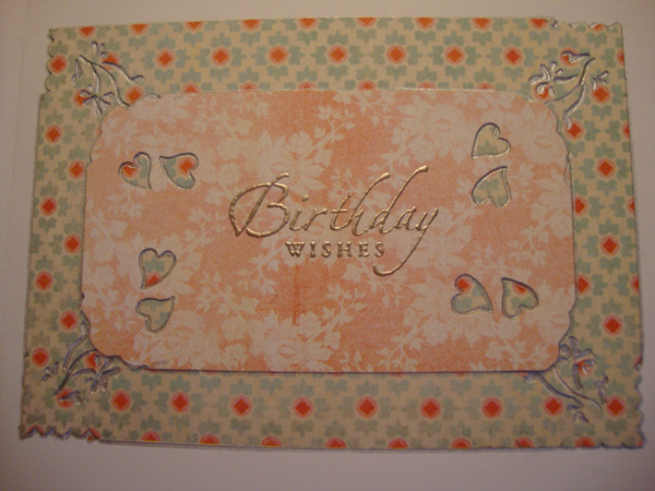 Birthday Card Sentiment Inside Close Up