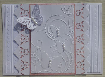 Card JI white and pink embossed butterflies