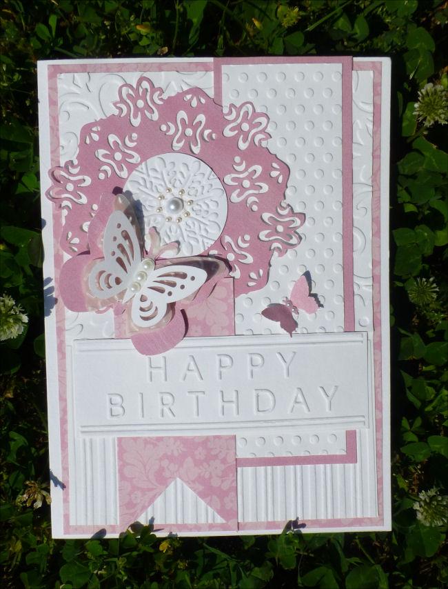 Card JI pink & cream double punch doily sm