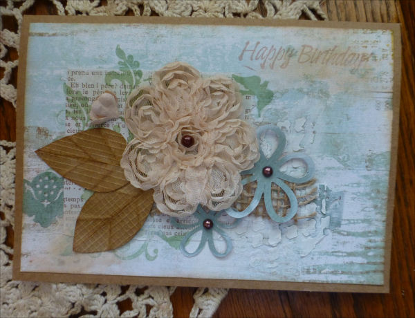 Card JI aqua with lace cream flower