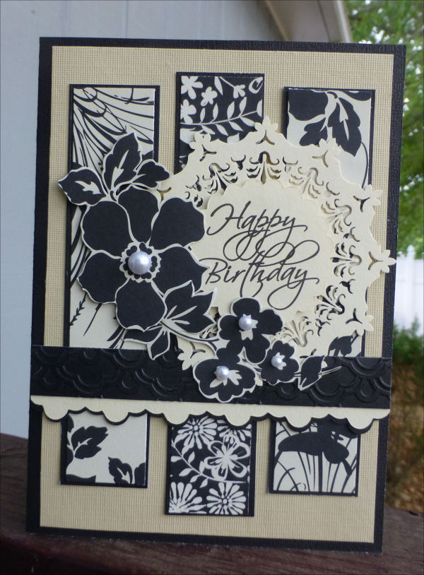 Card JI cream and black tri panel