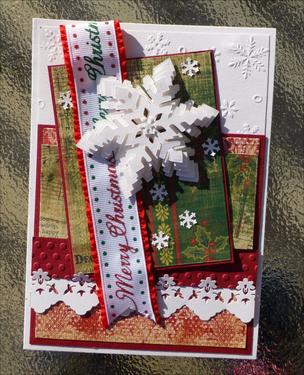 Card Christmas 3D snowflake